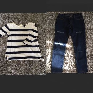 2 pieces MK jeans and H&M blue and white strip top